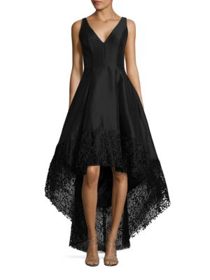 Lace-Trimmed Hi-Lo Gown by Betsy & Adam