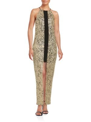 Metallic Split Front Gown by Belle Badgley Mischka