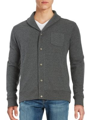 Shawl Collar Cotton-Blend Cardigan by Black Brown
