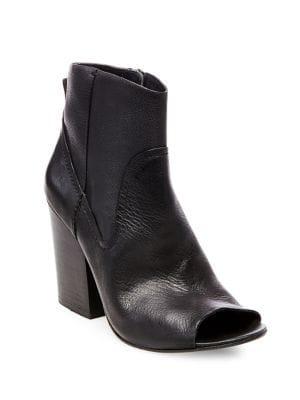Veronah Peep Toe Leather Booties by Steve Madden
