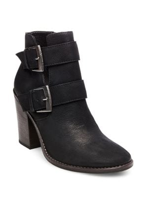 Trevur Belted Leather Booties by Steve Madden