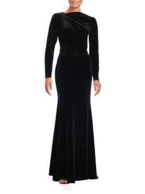 Long Sleeve Velvet Gown by Teri Jon