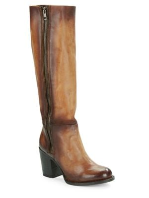 Beau High-Heel Knee-High Distressed Leather Boots by Freebird By Steven