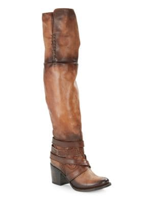 Rodeo Leather Crossed Strap Boots by Freebird By Steven