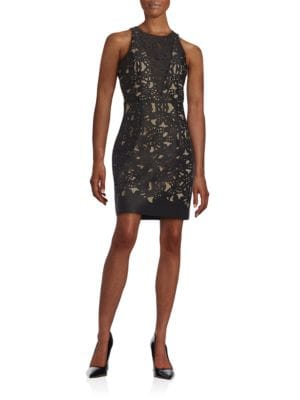 Floral Laser-Cut Sheath Dress by Belle Badgley Mischka