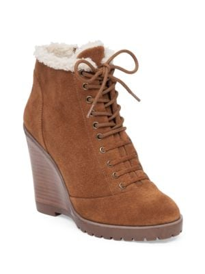 Kaelo Faux Shearling Leather Wedge Boots by Jessica Simpson