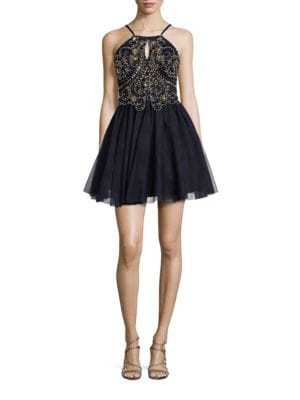 Sequined and Beaded Fit-and-Flare Dress by Blondie Nites