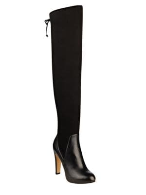 Brenna Leather-Blend Over-the-Knee Dress Boots by Nine West