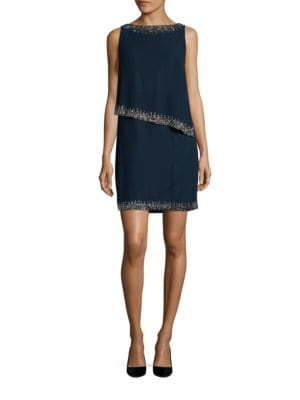 Petite Beaded Overlay Sheath Dress by J Kara