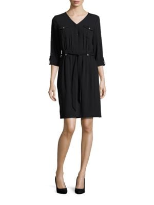 Pleated Three-Quarter Sleeve Shift Dress by Ellen Tracy