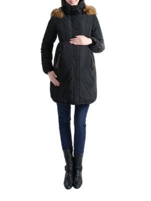 Faux Fur Hooded Cinch Waist Down Maternity Parka 500046904520
