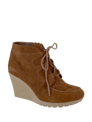 Berdina Suede Lace-Up Wedge Booties by Mia