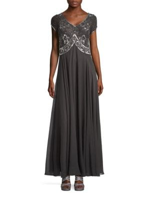 Beaded Short Sleeved Embellished Bodice A-Line Gown by J Kara
