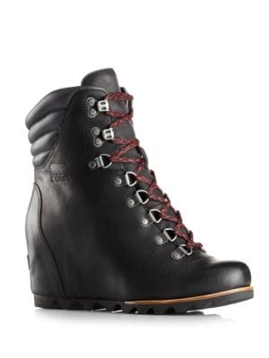 Conquest Waterproof Leather Wedge Booties by Sorel