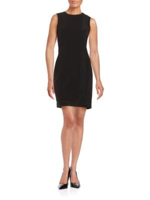Faux Suede-Trimmed Sheath Dress by Calvin Klein
