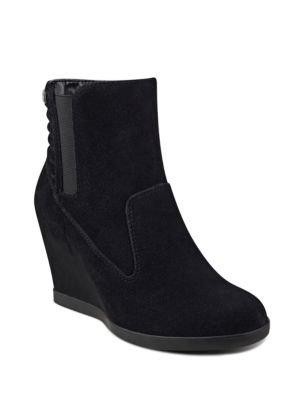 Buy Neither Round Toe Suede Ankle Boots by Anne Klein online
