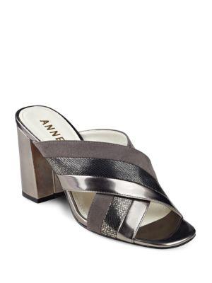 Wileta Crisscross Strap Suede Sandals by Anne Klein