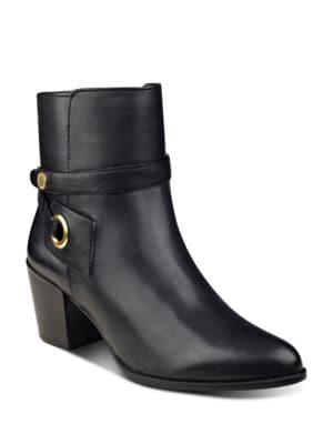 Globalist Wraparound Strap Leather Ankle Boots by Anne Klein