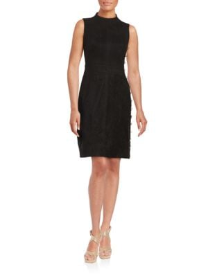 Suede-Accented Sheath Dress by Karl Lagerfeld Paris