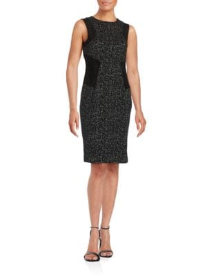 Textured Knit and Faux Suede Dress by Calvin Klein