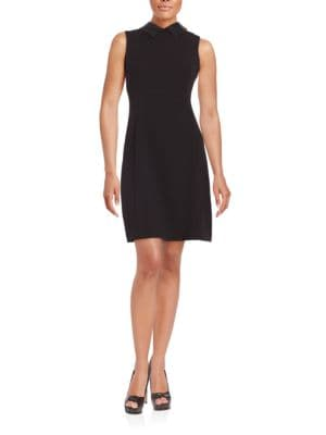 Faux Leather-Trimmed Sheath Dress by Calvin Klein