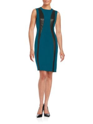 Photo of Calvin Klein Faux Leather-Trimmed Sheath Dress