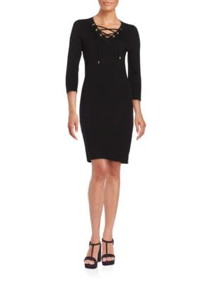 Solid Three-Quarter Sleeve Sheath Dress by Calvin Klein