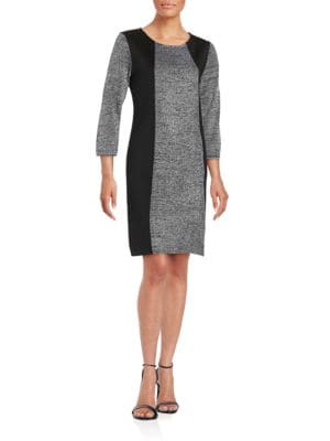 Contrast Paneled Sheath Dress by Calvin Klein