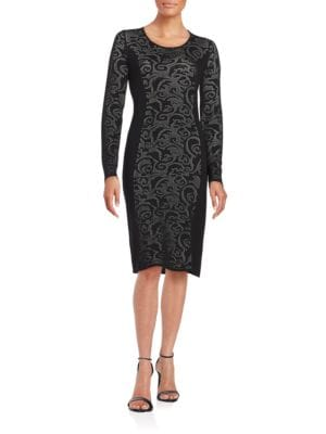 Long-Sleeve Pointelle Sheath Dress by Calvin Klein