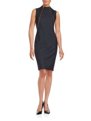 Zip-Accented Chambray Sheath Dress by Calvin Klein