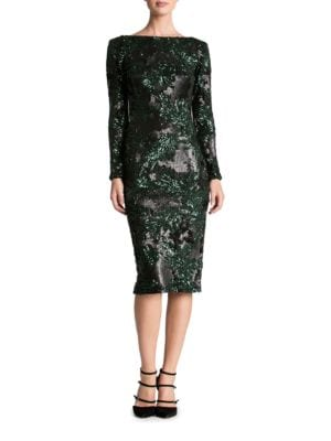 Emery Leaf Sequin Midi Dress by Dress The Population