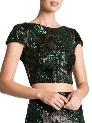 Gigi Leaf Sequin Cropped Top by Dress The Population