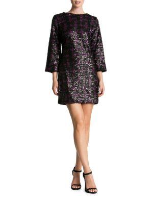 Lauren Sequined Bell Sleeve Shift Dress by Dress The Population