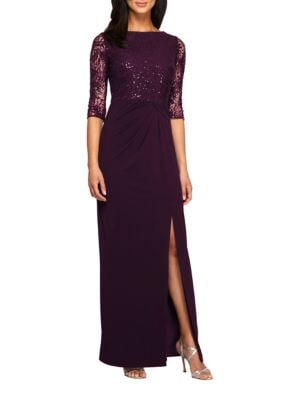 Sequined Boatneck Column Dress by Alex Evenings