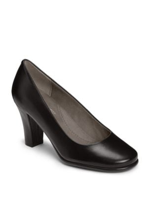 Major Role Leather Slip-On Pumps by Aerosoles