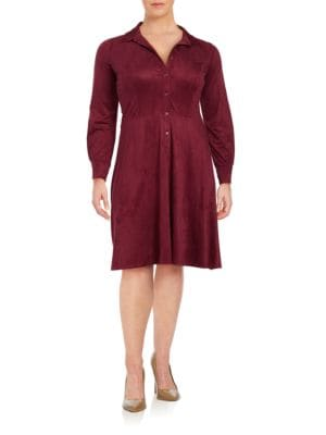 Plus Spread Collar Long Sleeve Dress by London Times