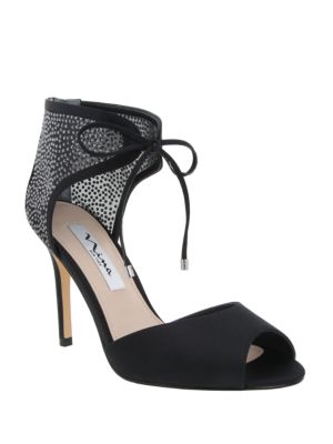 Madge Lace-Up Stiletto Peep-Toe Shoes by Nina