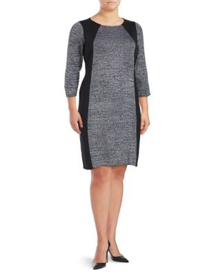 Three Quarter Sleeve Sweater Dress by Calvin Klein Plus