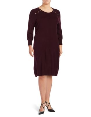 Button-Accented Sweater Dress by Calvin Klein