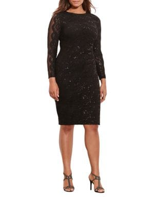 Plus Sequined-Lace Sheath Dress by Lauren Ralph Lauren