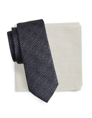 Calder Patterned Tie and Pocket Square Set by Tallia Orange