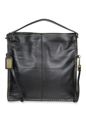 Zoe Leather Studded Hobo Bag by Badgley Mischka