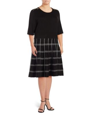 Three Quarter Sleeve Windowpane Fit-and-Flare Dress by Ivanka Trump