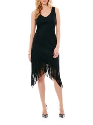 Asymmetrical Fringe Dress by Laundry by Shelli Segal