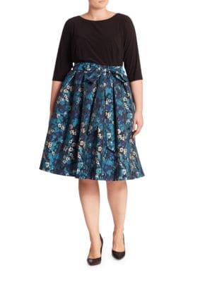 Floral Jacquard Flared Skirt by Adrianna Papell