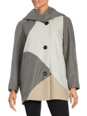 Colorblock Woolen Coat by Gallery