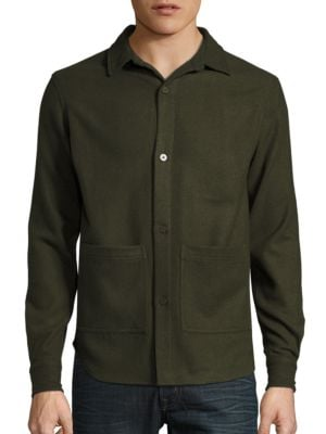 Button Front Wool Blend Shirt by Hans Kjobenhavn