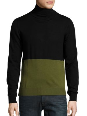 Mock Neck Colorblocked Sweater by Hans Kjobenhavn