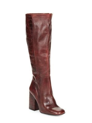 High Ground Knee-High Croco-Embossed Leather Boots by Free People