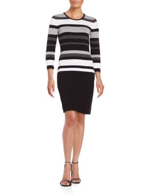 Striped Knit Sweater Dress by Calvin Klein